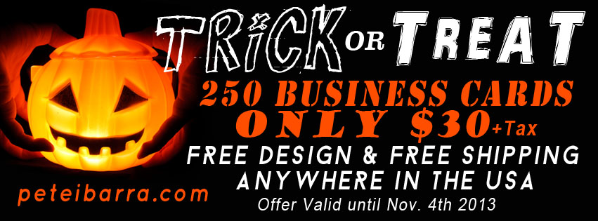 Trick or Treat, Business Card Offer, Facebook Deals, Printing